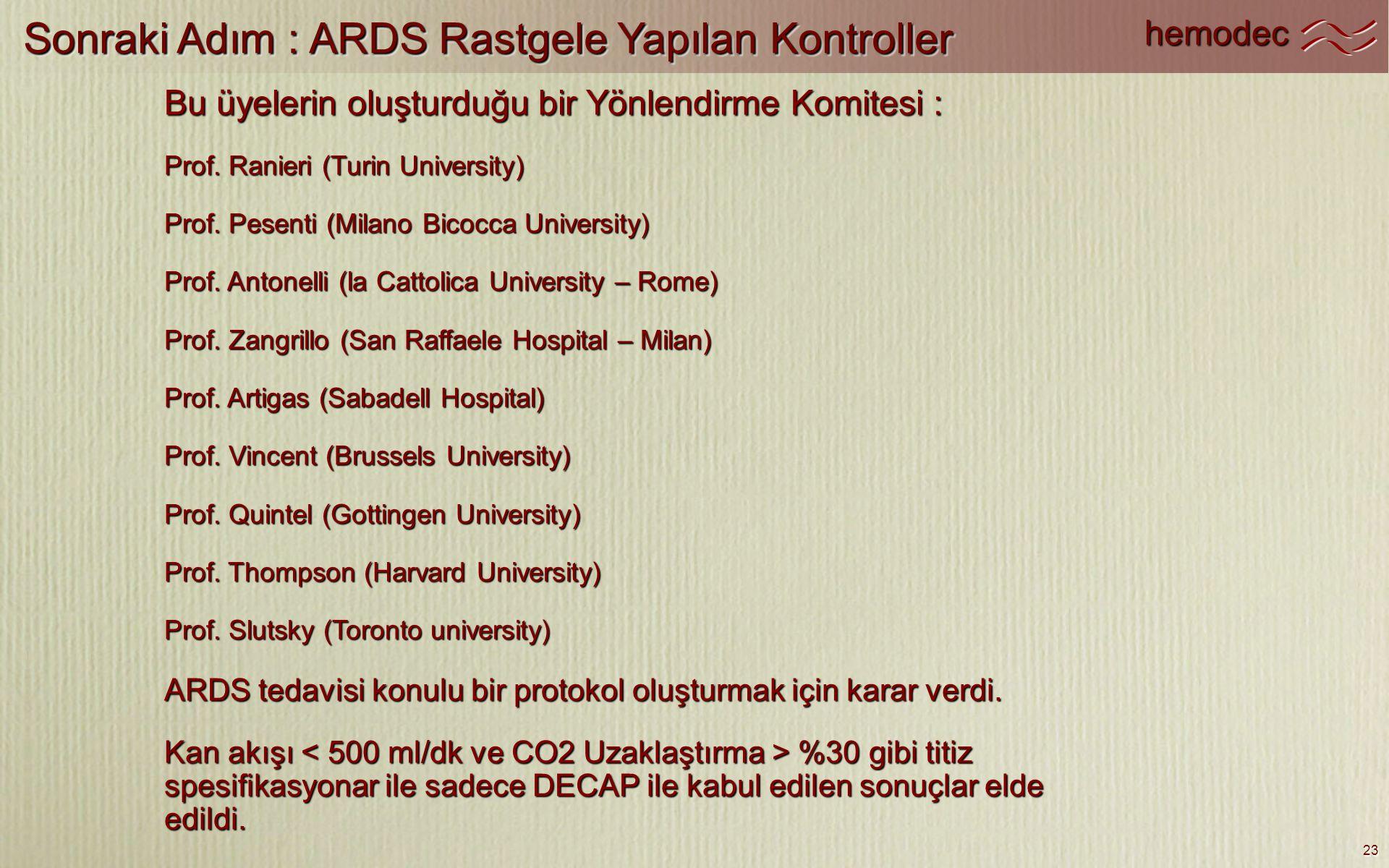 Sonraki Adım : ARDS Rastgele Yapılan Kontroller