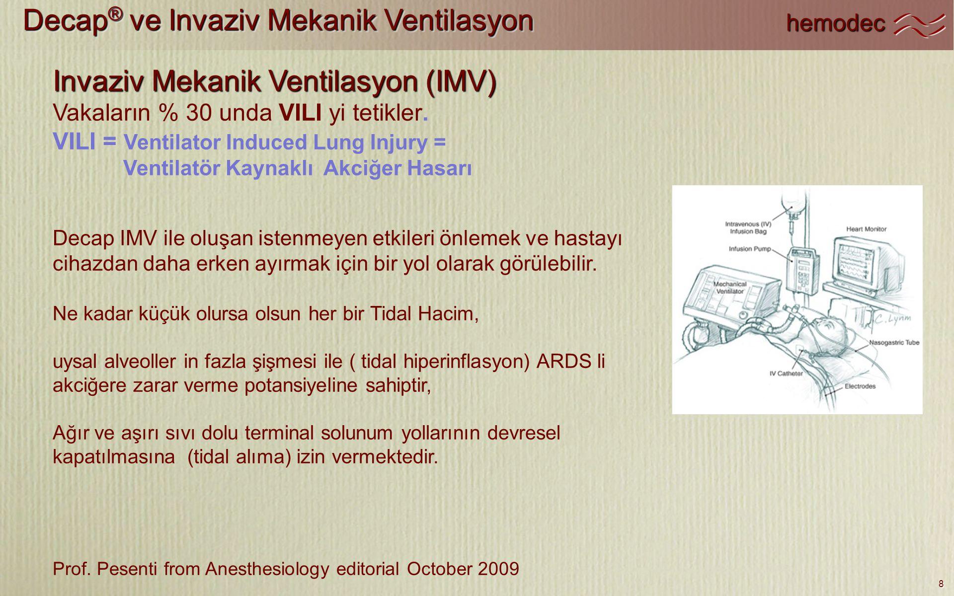 Decap® ve Invaziv Mekanik Ventilasyon