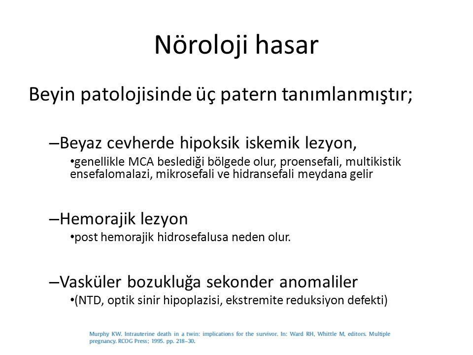 Nöroloji hasar Beyin patolojisinde üç patern tanımlanmıştır;