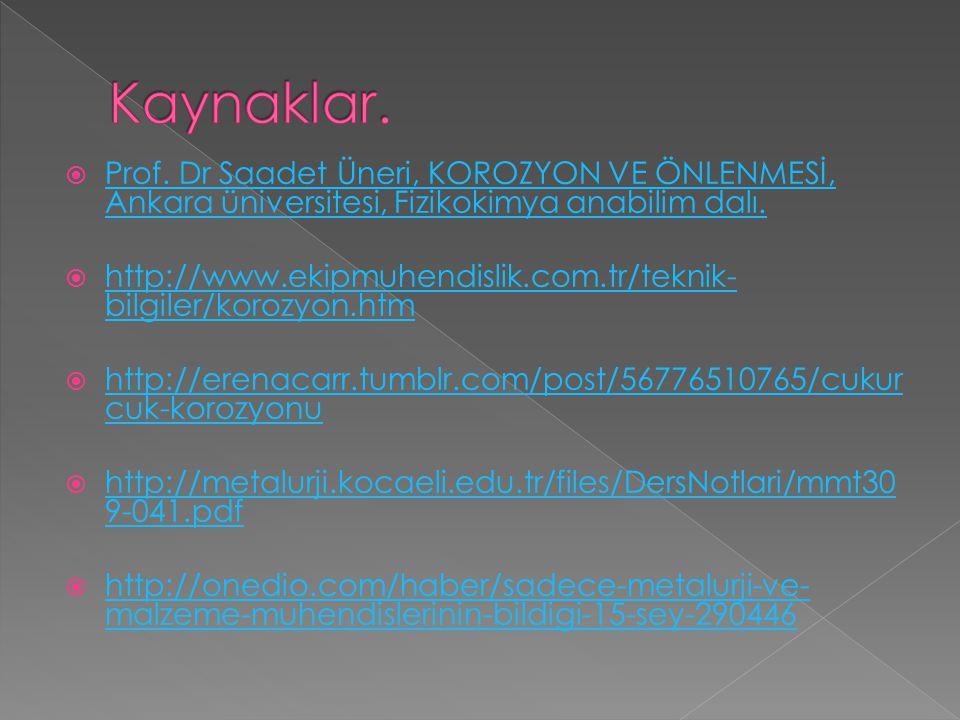 Kaynaklar. Prof. Dr Saadet Üneri, KOROZYON VE ÖNLENMESİ, Ankara üniversitesi, Fizikokimya anabilim dalı.