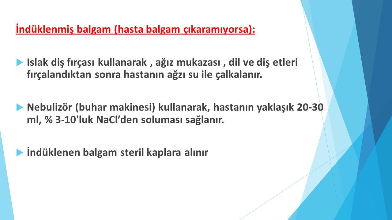 İndüklenmiş balgam (hasta balgam çıkaramıyorsa):