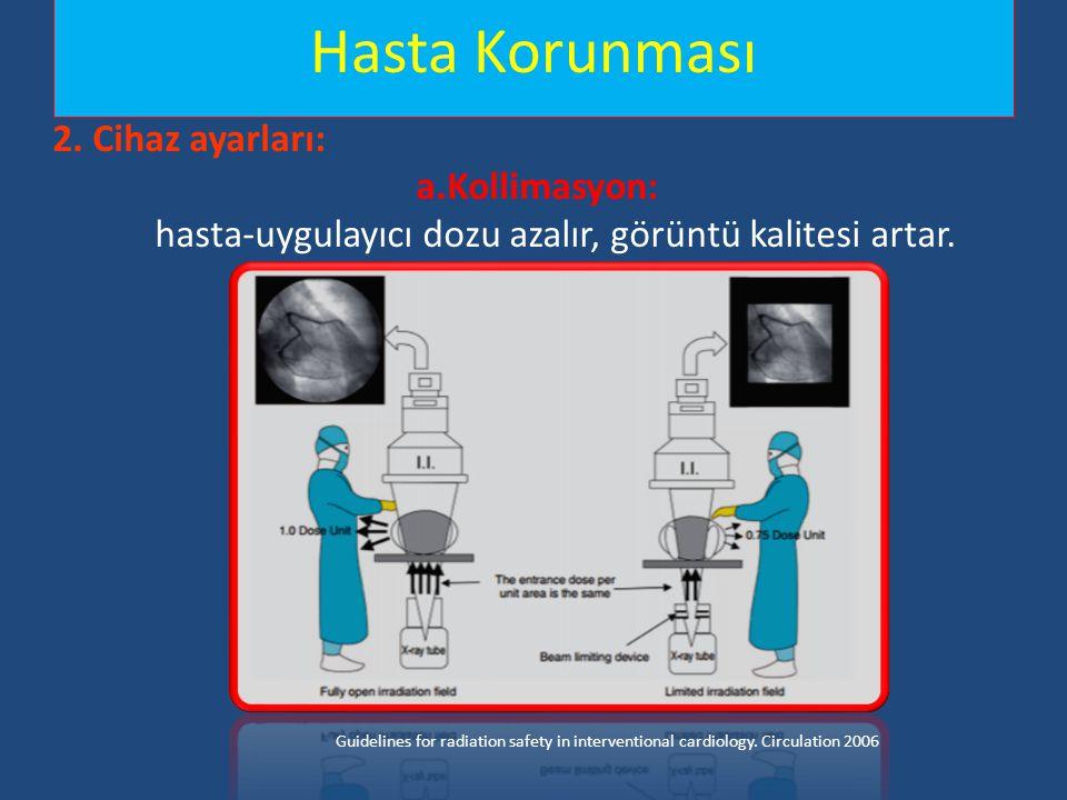 Hasta Korunması 2. Cihaz ayarları: a.Kollimasyon: hasta-uygulayıcı dozu azalır, görüntü kalitesi artar.