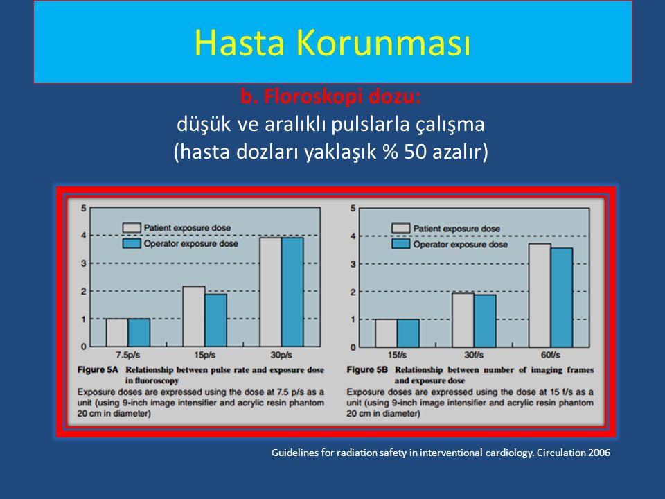 Hasta Korunması b. Floroskopi dozu: düşük ve aralıklı pulslarla çalışma (hasta dozları yaklaşık % 50 azalır)