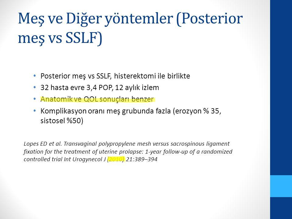 Meş ve Diğer yöntemler (Posterior meş vs SSLF)