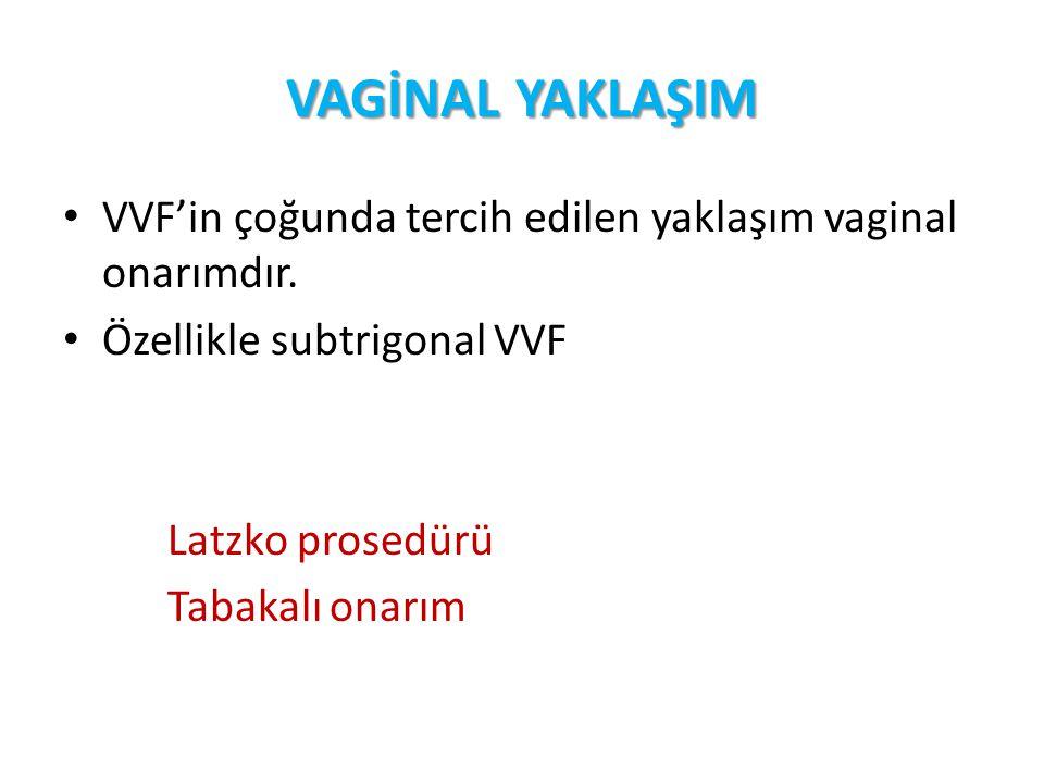 VAGİNAL YAKLAŞIM VVF'in çoğunda tercih edilen yaklaşım vaginal onarımdır. Özellikle subtrigonal VVF.