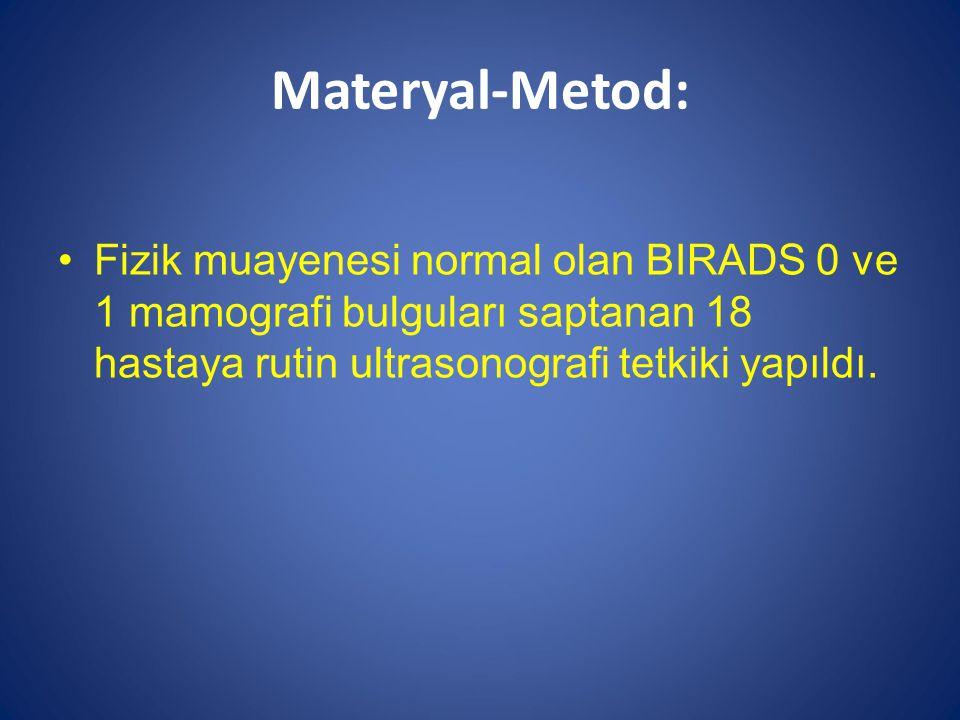 Materyal-Metod: Fizik muayenesi normal olan BIRADS 0 ve 1 mamografi bulguları saptanan 18 hastaya rutin ultrasonografi tetkiki yapıldı.