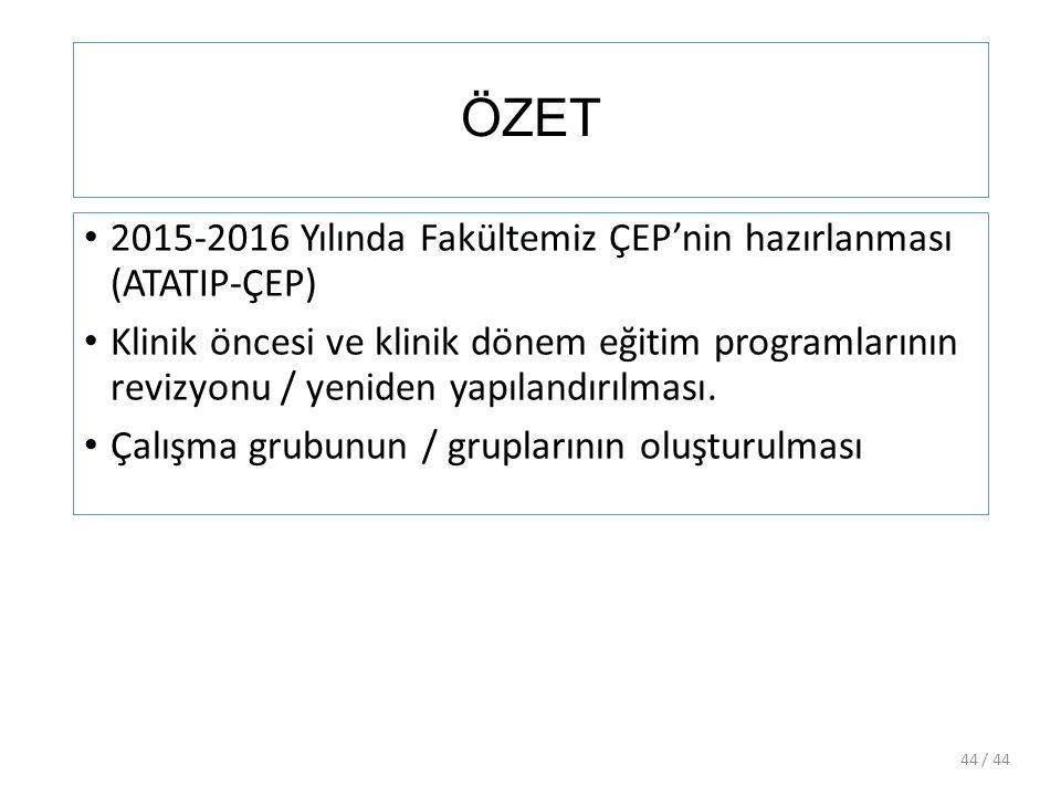 ÖZET 2015-2016 Yılında Fakültemiz ÇEP'nin hazırlanması (ATATIP-ÇEP)