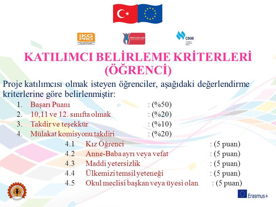 KATILIMCI BELİRLEME KRİTERLERİ (ÖĞRENCİ)