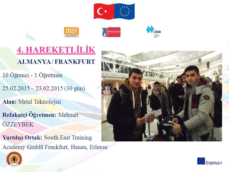 4. HAREKETLİLİK ALMANYA / FRANKFURT 10 Öğrenci - 1 Öğretmen