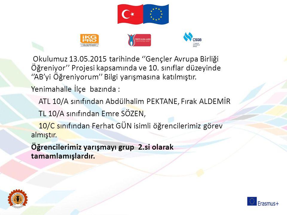 Okulumuz 13.05.2015 tarihinde ''Gençler Avrupa Birliği Öğreniyor'' Projesi kapsamında ve 10.