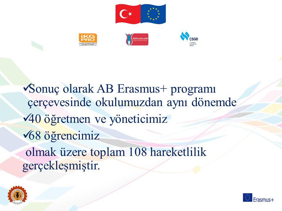Sonuç olarak AB Erasmus+ programı çerçevesinde okulumuzdan aynı dönemde