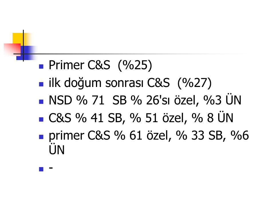 Primer C&S (%25) ilk doğum sonrası C&S (%27) NSD % 71 SB % 26 sı özel, %3 ÜN. C&S % 41 SB, % 51 özel, % 8 ÜN.