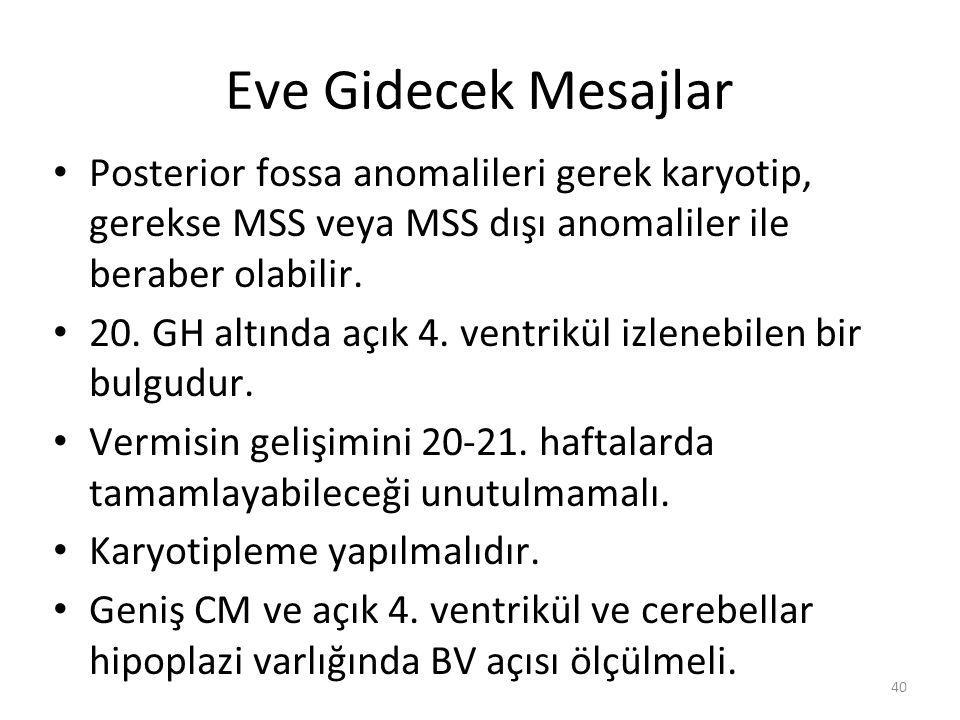 Eve Gidecek Mesajlar Posterior fossa anomalileri gerek karyotip, gerekse MSS veya MSS dışı anomaliler ile beraber olabilir.