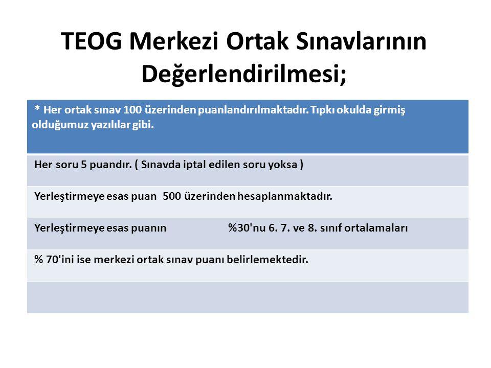 TEOG Merkezi Ortak Sınavlarının Değerlendirilmesi;