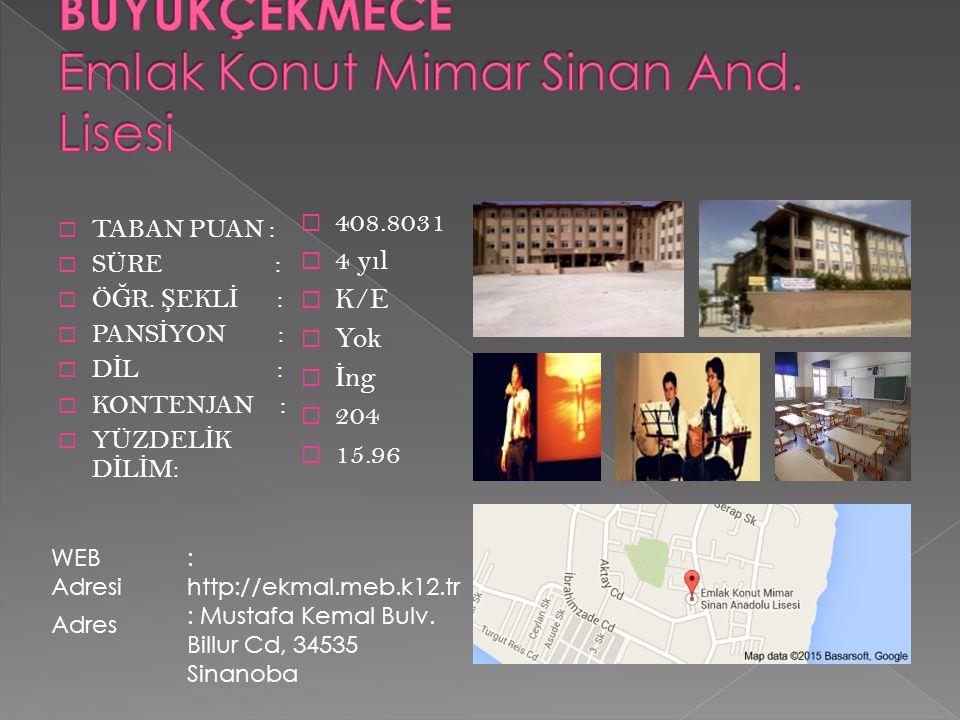 BÜYÜKÇEKMECE Emlak Konut Mimar Sinan And. Lisesi