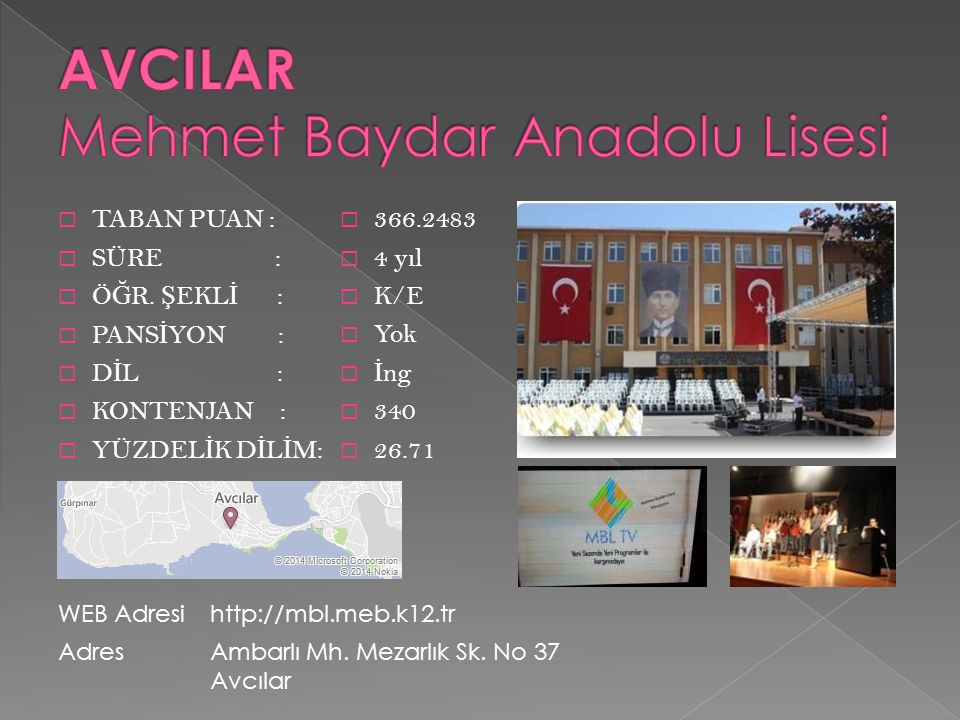 AVCILAR Mehmet Baydar Anadolu Lisesi