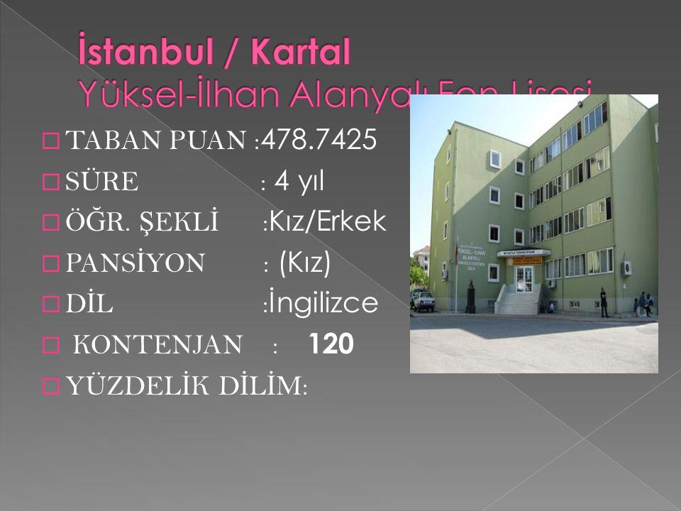 İstanbul / Kartal Yüksel-İlhan Alanyalı Fen Lisesi