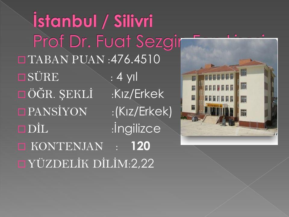 İstanbul / Silivri Prof Dr. Fuat Sezgin Fen Lisesi