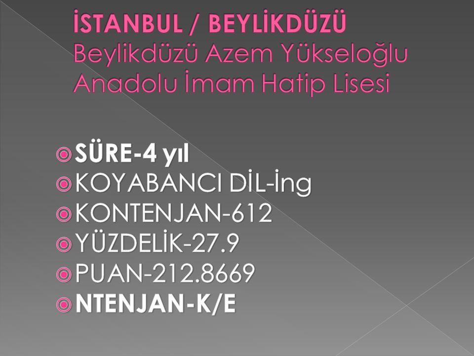 İSTANBUL / BEYLİKDÜZÜ Beylikdüzü Azem Yükseloğlu Anadolu İmam Hatip Lisesi