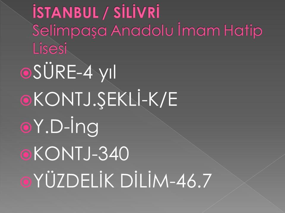 İSTANBUL / SİLİVRİ Selimpaşa Anadolu İmam Hatip Lisesi