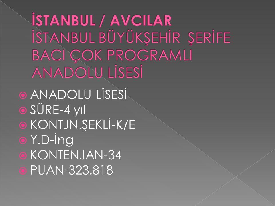 İSTANBUL / AVCILAR İSTANBUL BÜYÜKŞEHİR ŞERİFE BACI ÇOK PROGRAMLI ANADOLU LİSESİ