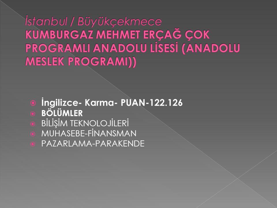 İstanbul / Büyükçekmece KUMBURGAZ MEHMET ERÇAĞ ÇOK PROGRAMLI ANADOLU LİSESİ (ANADOLU MESLEK PROGRAMI))