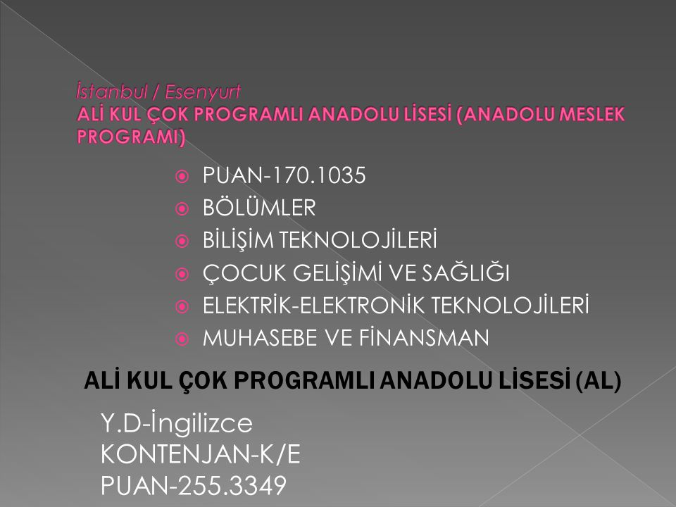 ALİ KUL ÇOK PROGRAMLI ANADOLU LİSESİ (AL)