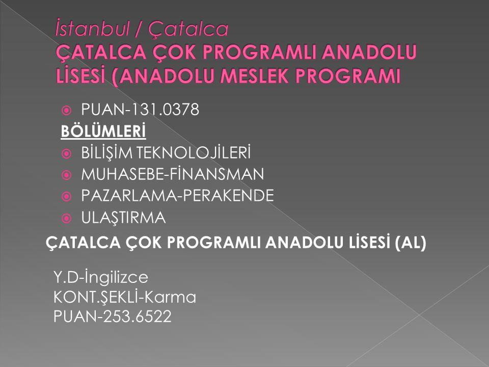 İstanbul / Çatalca ÇATALCA ÇOK PROGRAMLI ANADOLU LİSESİ (ANADOLU MESLEK PROGRAMI