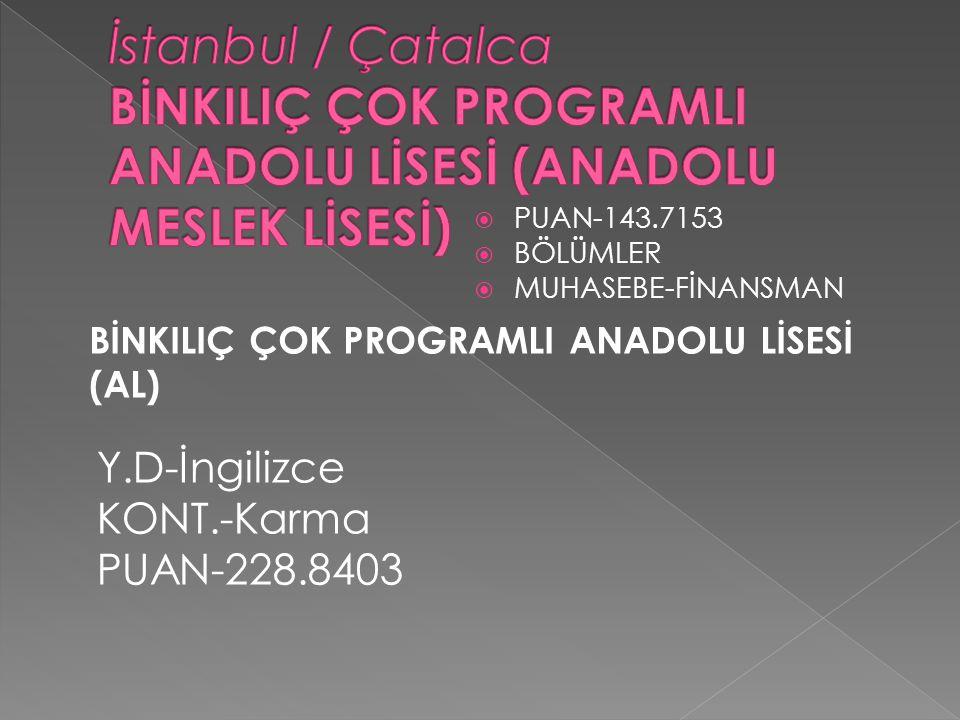 İstanbul / Çatalca BİNKILIÇ ÇOK PROGRAMLI ANADOLU LİSESİ (ANADOLU MESLEK LİSESİ)