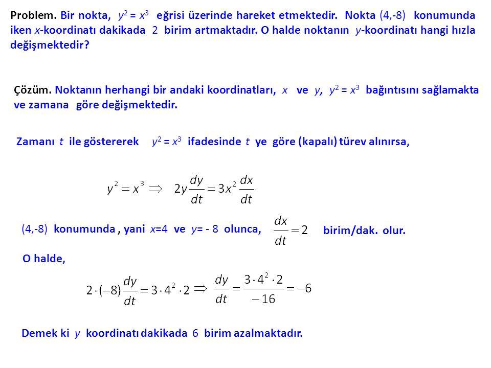 Problem. Bir nokta, y2 = x3 eğrisi üzerinde hareket etmektedir
