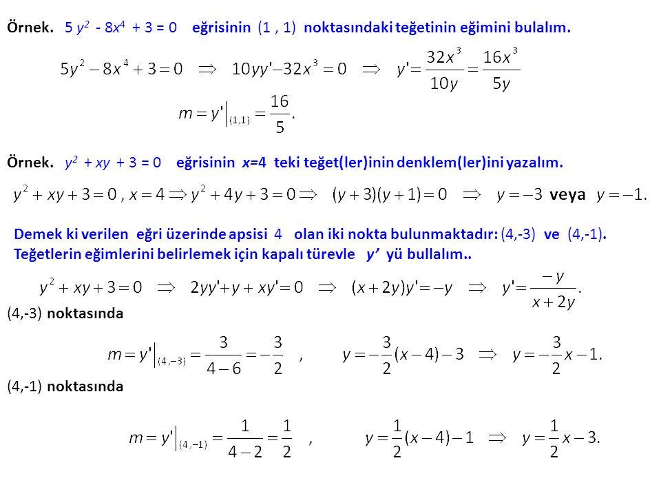 Örnek. 5 y2 - 8x4 + 3 = 0 eğrisinin (1 , 1) noktasındaki teğetinin eğimini bulalım.
