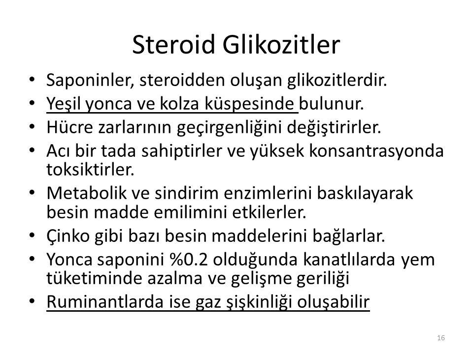 Steroid Glikozitler Saponinler, steroidden oluşan glikozitlerdir.