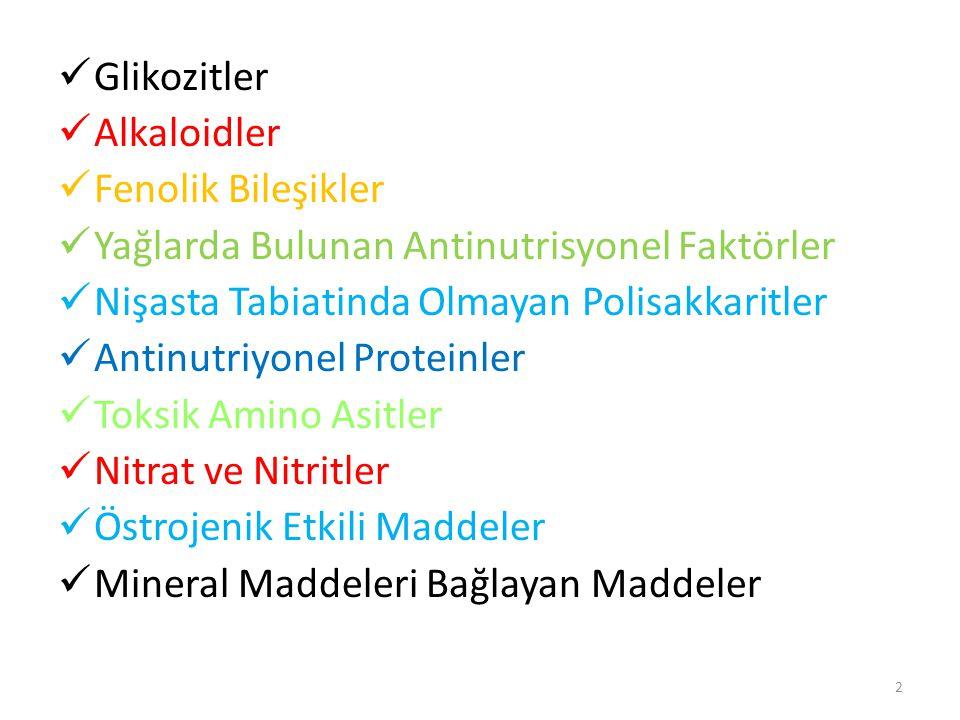 Glikozitler Alkaloidler. Fenolik Bileşikler. Yağlarda Bulunan Antinutrisyonel Faktörler. Nişasta Tabiatinda Olmayan Polisakkaritler.