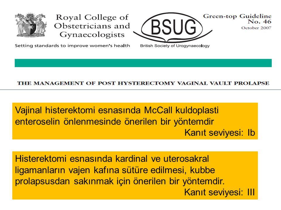 Vajinal histerektomi esnasında McCall kuldoplasti enteroselin önlenmesinde önerilen bir yöntemdir