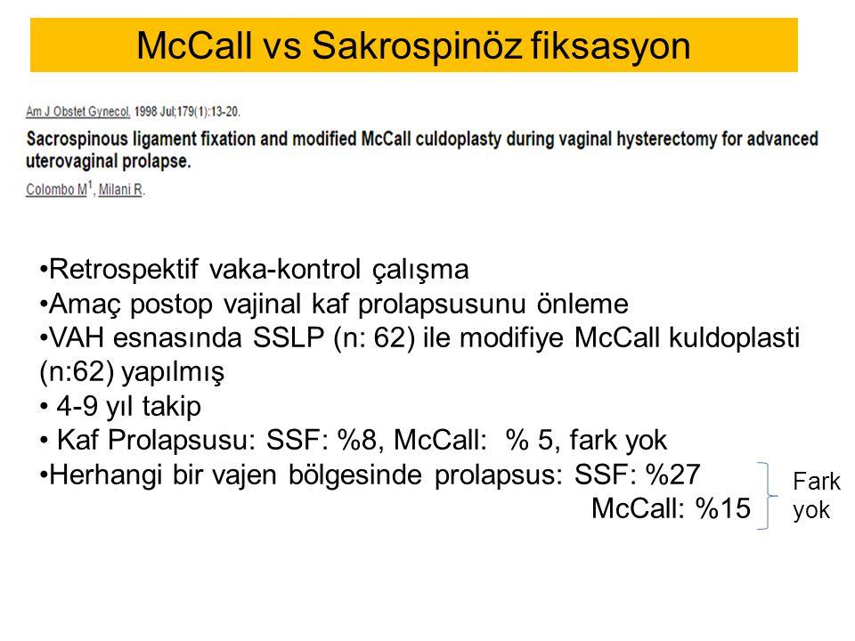 McCall vs Sakrospinöz fiksasyon