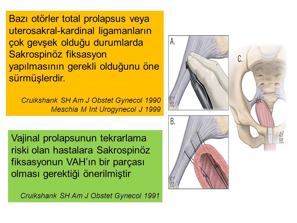 Bazı otörler total prolapsus veya uterosakral-kardinal ligamanların çok gevşek olduğu durumlarda Sakrospinöz fiksasyon yapılmasının gerekli olduğunu öne sürmüşlerdir.