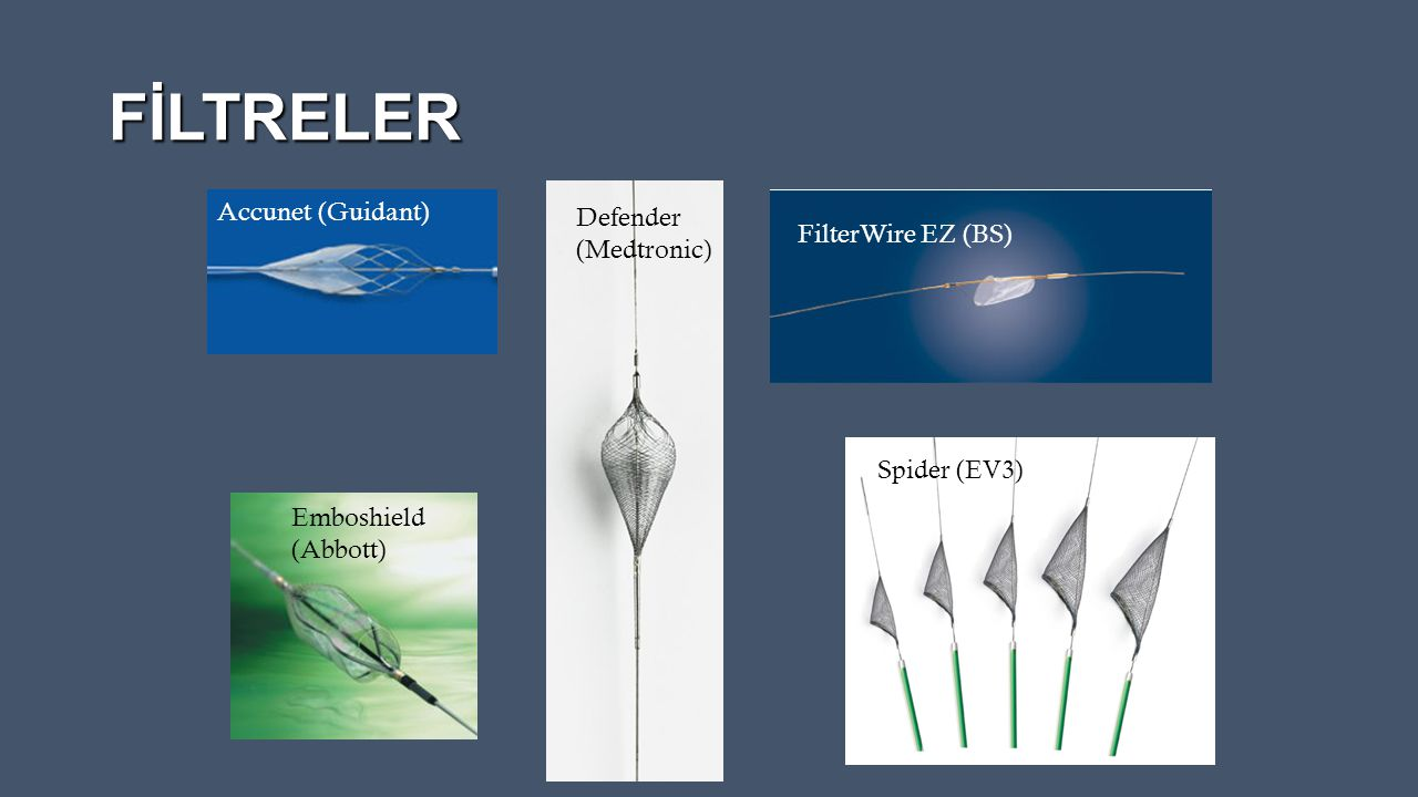 FİLTRELER Accunet (Guidant) Defender (Medtronic) FilterWire EZ (BS)