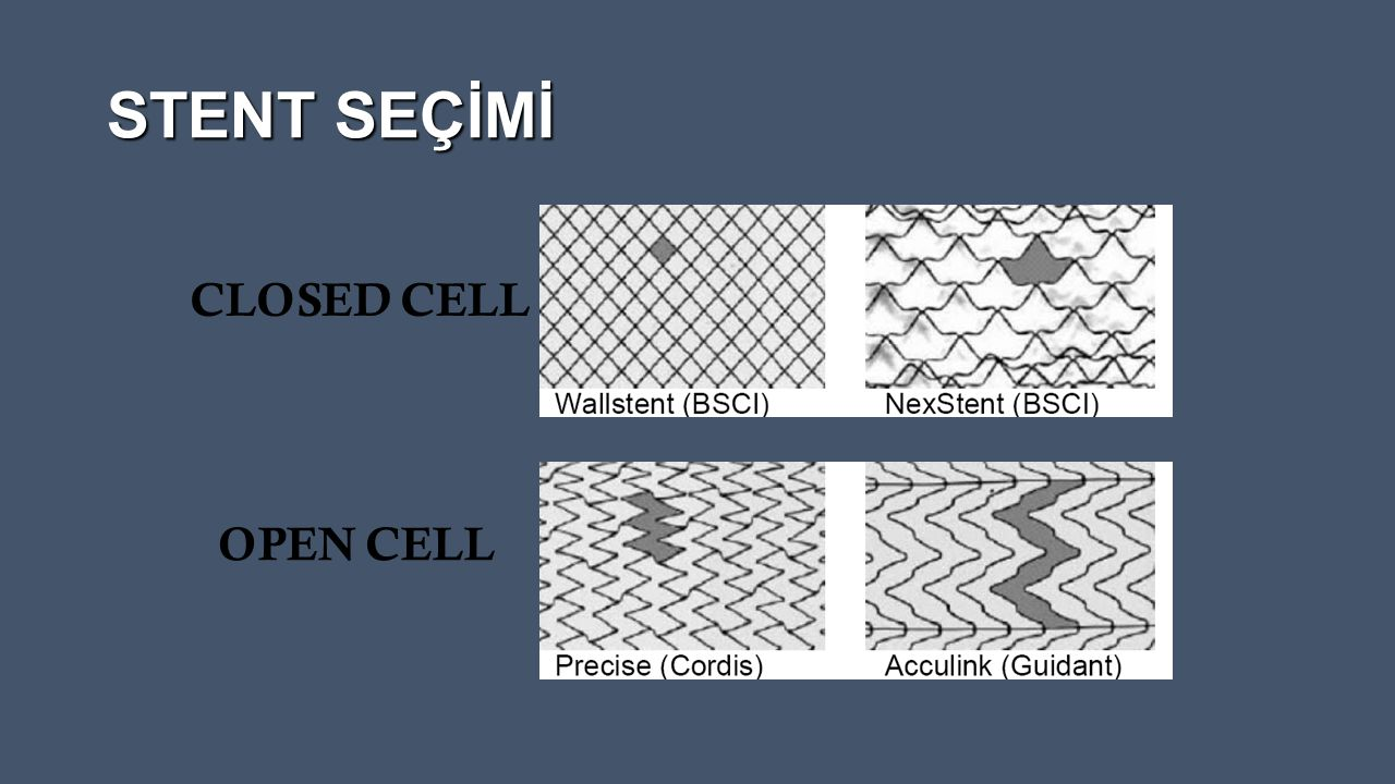 STENT SEÇİMİ CLOSED CELL OPEN CELL