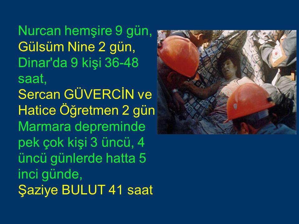 Nurcan hemşire 9 gün, Gülsüm Nine 2 gün, Dinar da 9 kişi 36-48 saat, Sercan GÜVERCİN ve Hatice Öğretmen 2 gün Marmara depreminde pek çok kişi 3 üncü, 4 üncü günlerde hatta 5 inci günde, Şaziye BULUT 41 saat