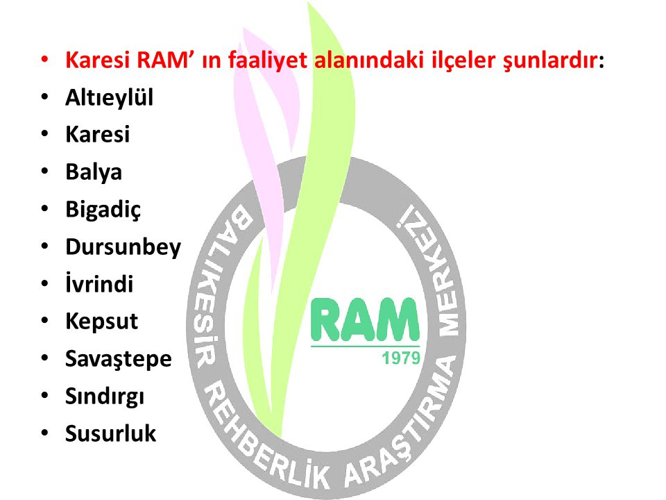 Karesi RAM' ın faaliyet alanındaki ilçeler şunlardır: