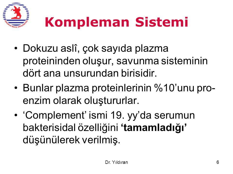 Kompleman Sistemi Dokuzu aslî, çok sayıda plazma proteininden oluşur, savunma sisteminin dört ana unsurundan birisidir.