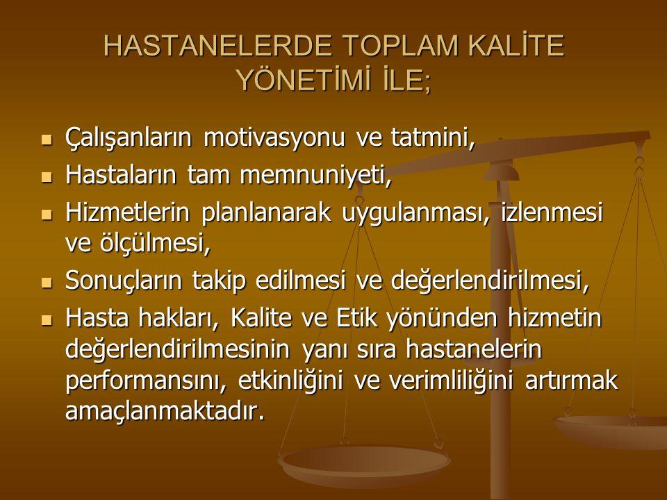HASTANELERDE TOPLAM KALİTE YÖNETİMİ İLE;