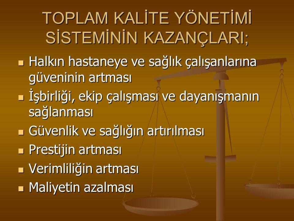 TOPLAM KALİTE YÖNETİMİ SİSTEMİNİN KAZANÇLARI;