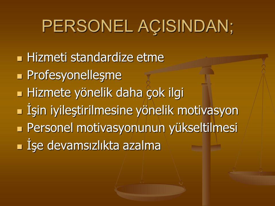 PERSONEL AÇISINDAN; Hizmeti standardize etme Profesyonelleşme