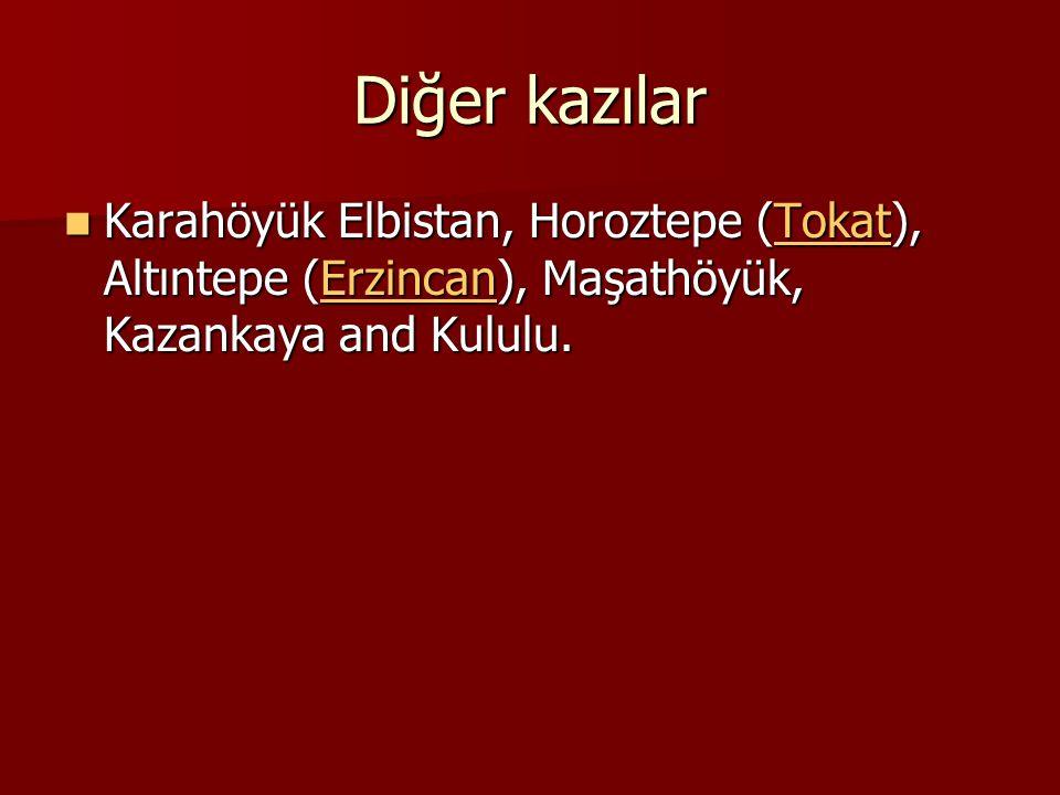 Diğer kazılar Karahöyük Elbistan, Horoztepe (Tokat), Altıntepe (Erzincan), Maşathöyük, Kazankaya and Kululu.