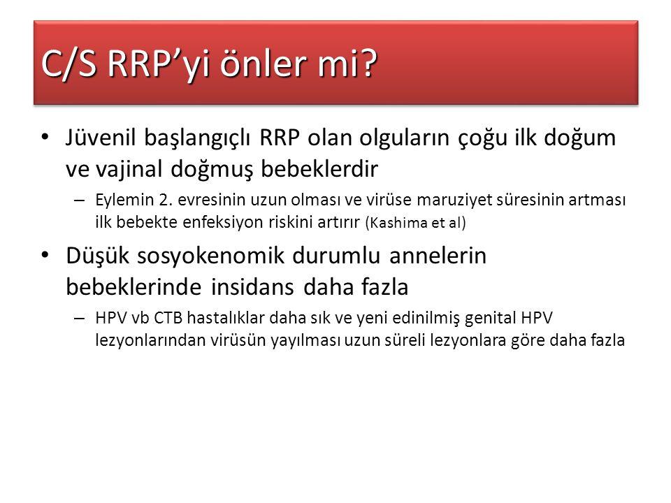 C/S RRP'yi önler mi Jüvenil başlangıçlı RRP olan olguların çoğu ilk doğum ve vajinal doğmuş bebeklerdir.