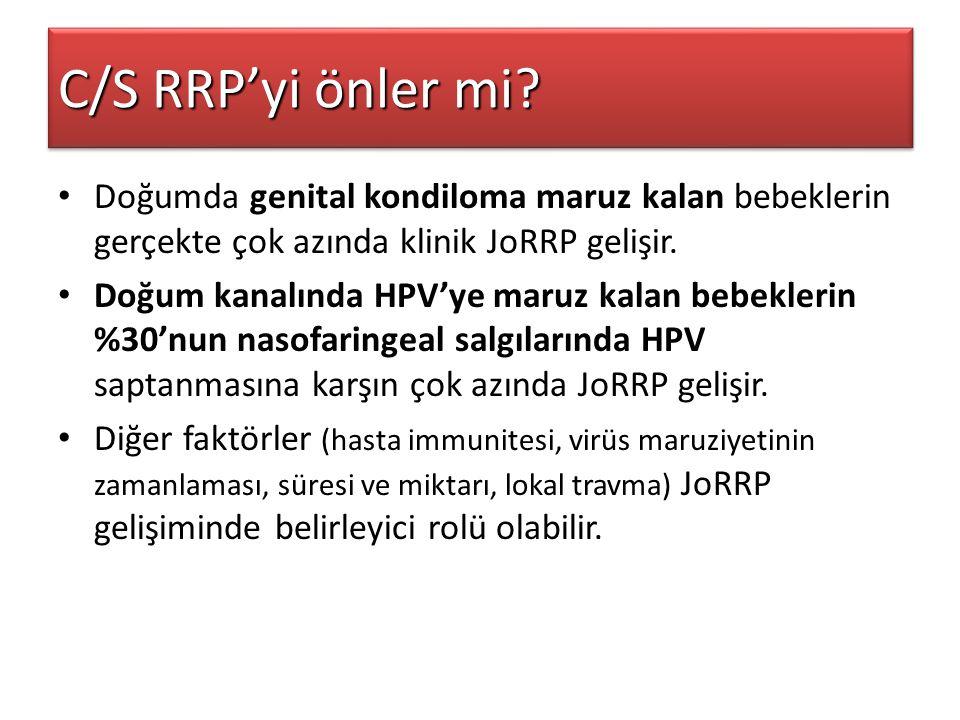 C/S RRP'yi önler mi Doğumda genital kondiloma maruz kalan bebeklerin gerçekte çok azında klinik JoRRP gelişir.