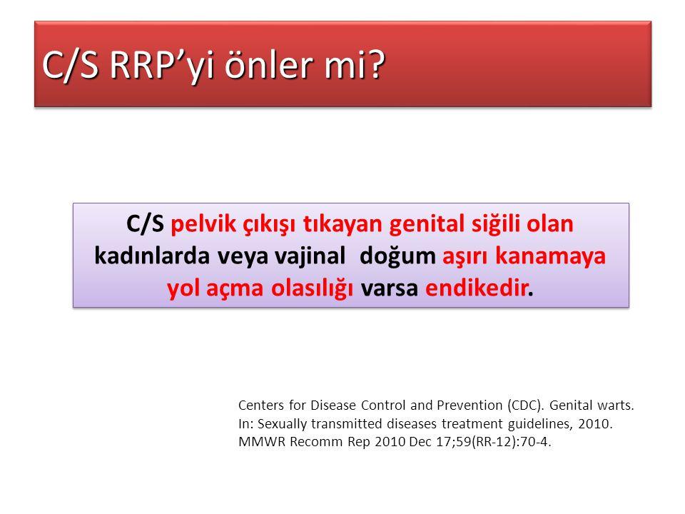 C/S RRP'yi önler mi C/S pelvik çıkışı tıkayan genital siğili olan kadınlarda veya vajinal doğum aşırı kanamaya yol açma olasılığı varsa endikedir.