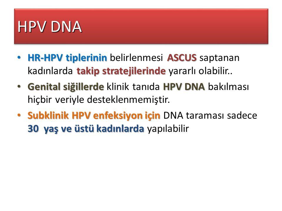 HPV DNA HR-HPV tiplerinin belirlenmesi ASCUS saptanan kadınlarda takip stratejilerinde yararlı olabilir..