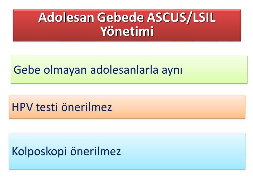 Adolesan Gebede ASCUS/LSIL Yönetimi